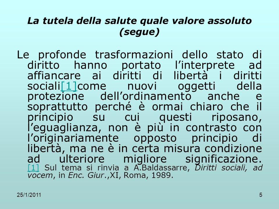 25/1/201136 Le origini della legislazione sanitaria (segue) Art.