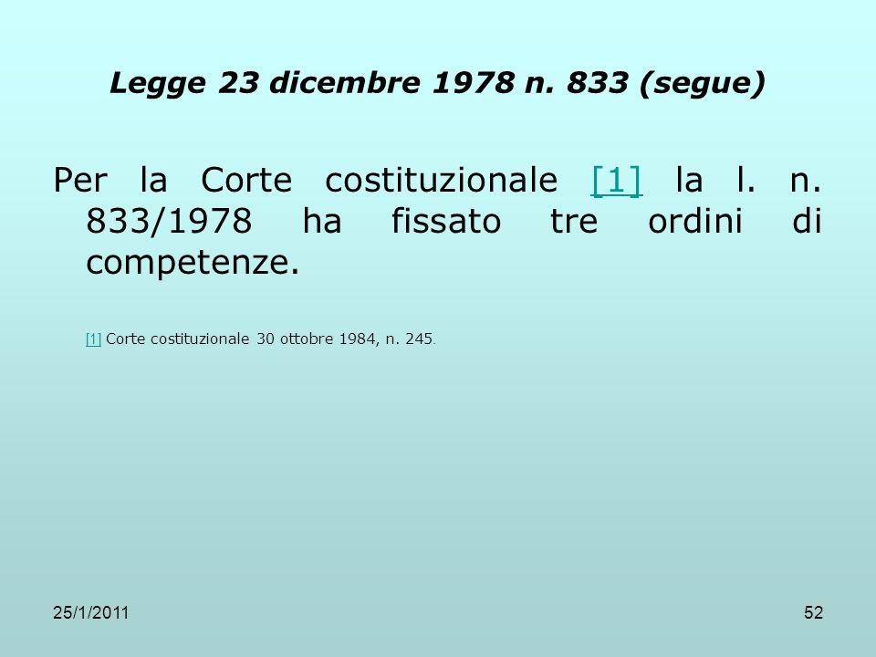 25/1/201152 Legge 23 dicembre 1978 n. 833 (segue) Per la Corte costituzionale [1] la l. n. 833/1978 ha fissato tre ordini di competenze.[1] [1] Corte