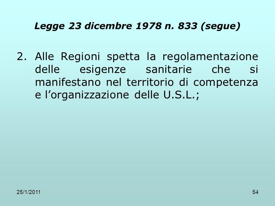 25/1/201154 Legge 23 dicembre 1978 n. 833 (segue) 2.Alle Regioni spetta la regolamentazione delle esigenze sanitarie che si manifestano nel territorio