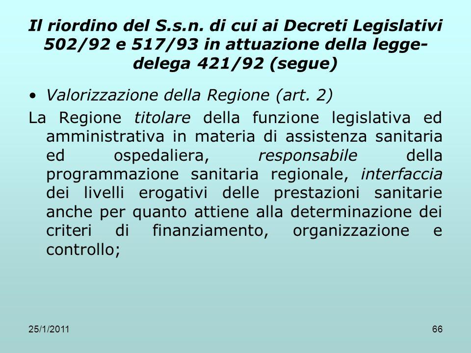 25/1/201166 Il riordino del S.s.n. di cui ai Decreti Legislativi 502/92 e 517/93 in attuazione della legge- delega 421/92 (segue) Valorizzazione della