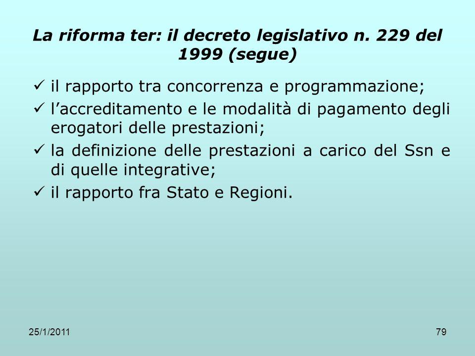 25/1/201179 La riforma ter: il decreto legislativo n. 229 del 1999 (segue) il rapporto tra concorrenza e programmazione; laccreditamento e le modalità