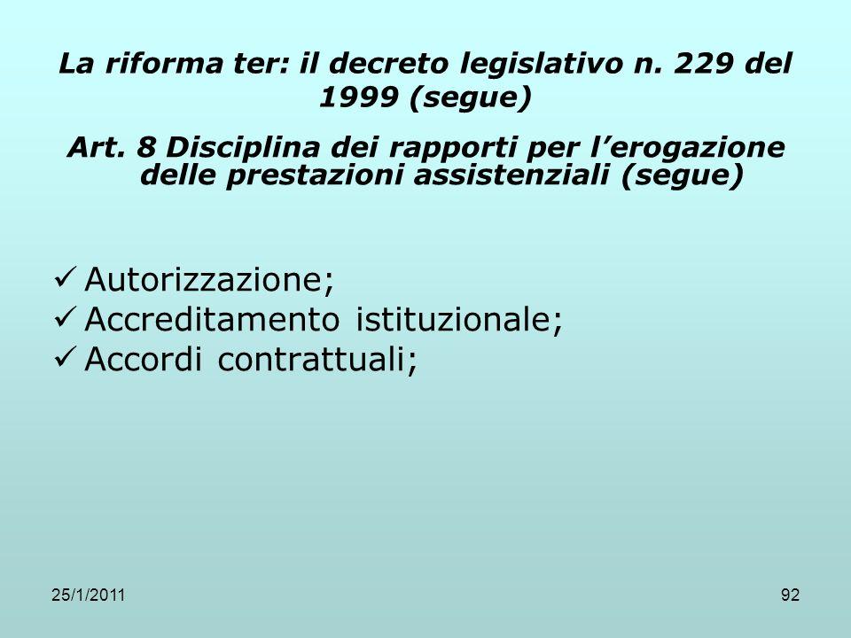 25/1/201192 La riforma ter: il decreto legislativo n. 229 del 1999 (segue) Art. 8 Disciplina dei rapporti per lerogazione delle prestazioni assistenzi