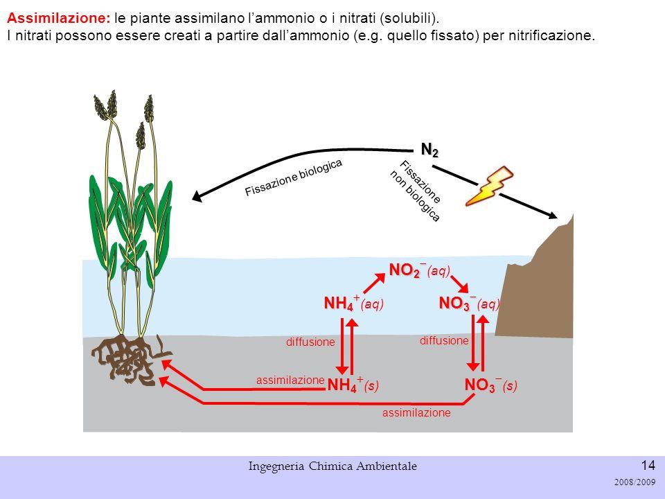 Università di Padova LASA – Laboratorio di Analisi dei Sistemi ambientali Ingegneria Chimica Ambientale 14 2008/2009 Fissazione biologica N2N2N2N2 Ass
