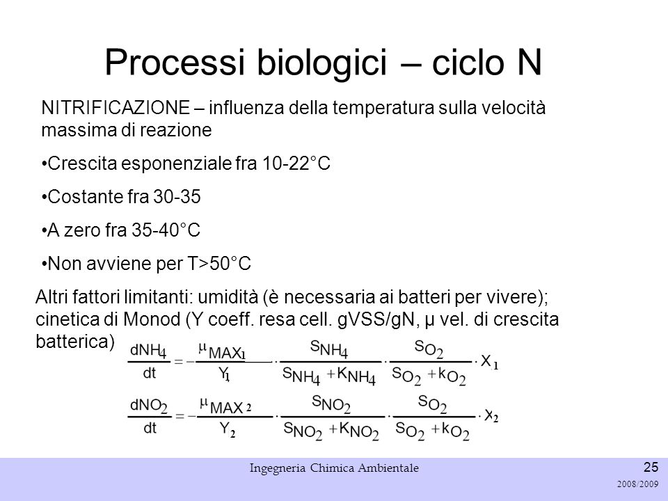 Università di Padova LASA – Laboratorio di Analisi dei Sistemi ambientali Ingegneria Chimica Ambientale 25 2008/2009 Processi biologici – ciclo N NITR