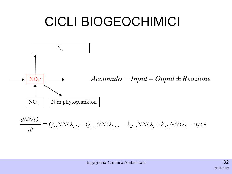 Università di Padova LASA – Laboratorio di Analisi dei Sistemi ambientali Ingegneria Chimica Ambientale 32 2008/2009 CICLI BIOGEOCHIMICI NO 2 - NO 3 -