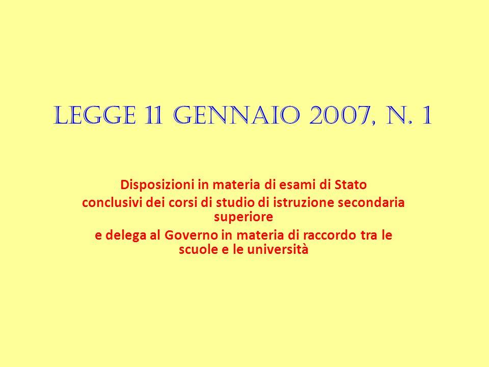 LEGGE 11 GENNAIO 2007, n.