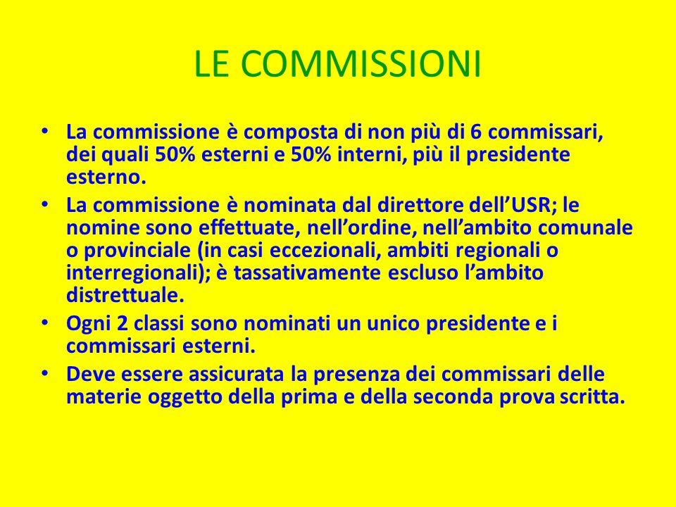 LE COMMISSIONI La commissione è composta di non più di 6 commissari, dei quali 50% esterni e 50% interni, più il presidente esterno.