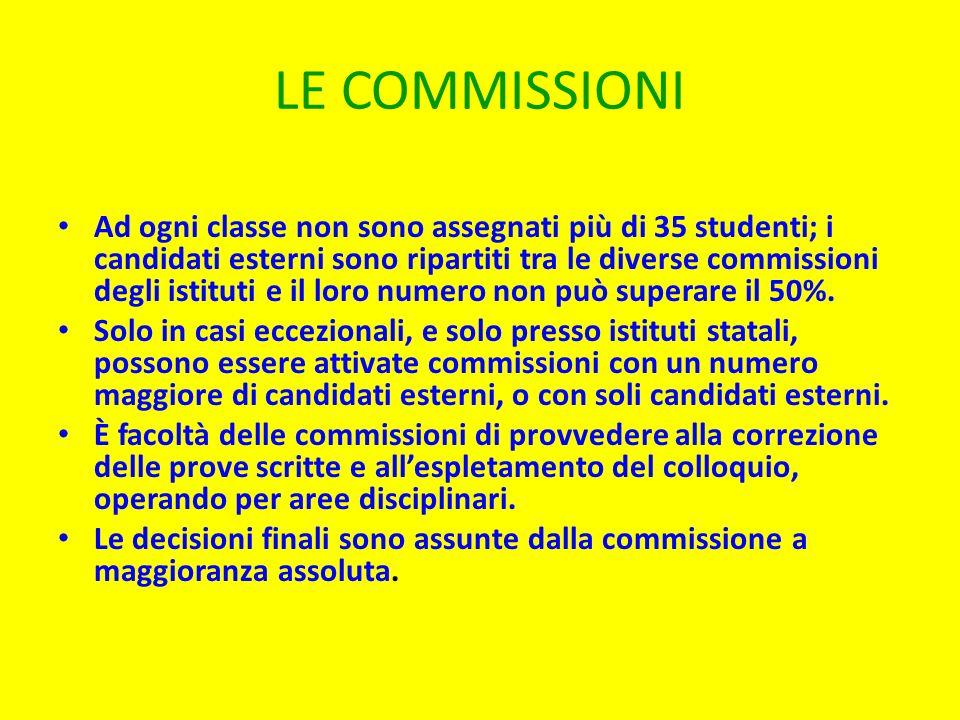 LE COMMISSIONI Ad ogni classe non sono assegnati più di 35 studenti; i candidati esterni sono ripartiti tra le diverse commissioni degli istituti e il loro numero non può superare il 50%.