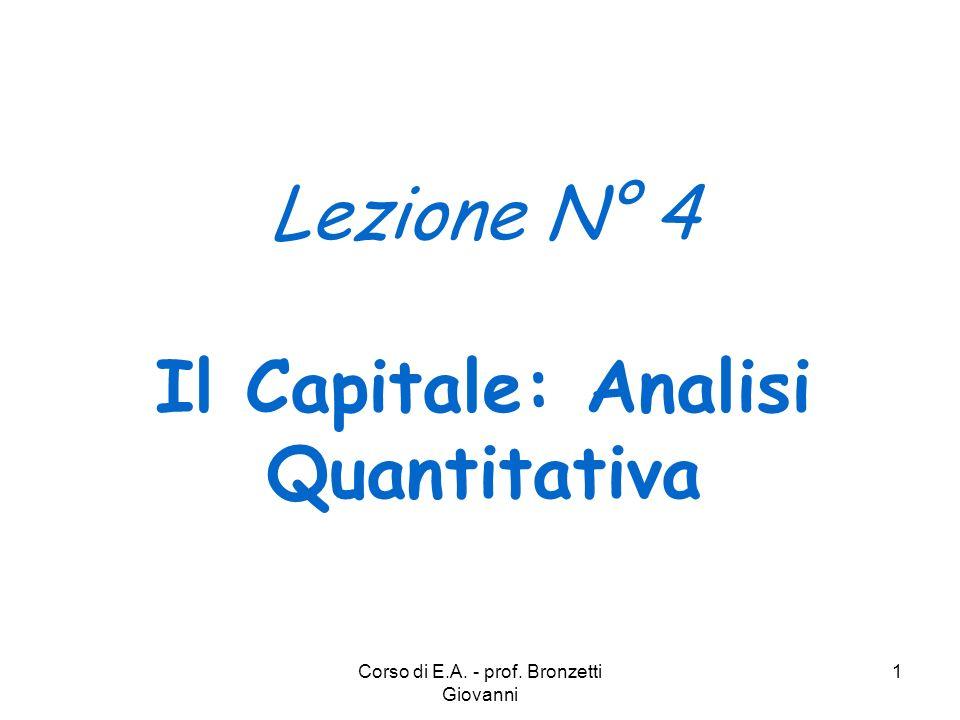 Corso di E.A. - prof. Bronzetti Giovanni 1 Lezione N° 4 Il Capitale: Analisi Quantitativa