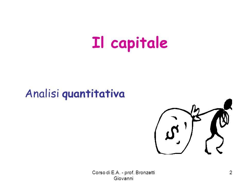 Corso di E.A. - prof. Bronzetti Giovanni 2 Il capitale Analisi quantitativa
