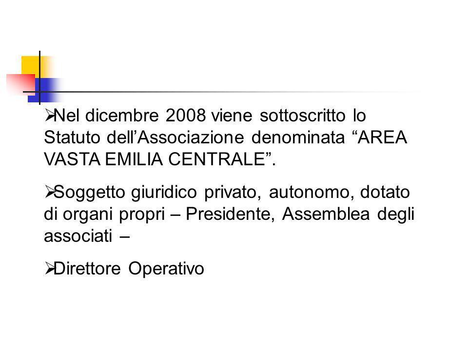 Nel dicembre 2008 viene sottoscritto lo Statuto dellAssociazione denominata AREA VASTA EMILIA CENTRALE. Soggetto giuridico privato, autonomo, dotato d
