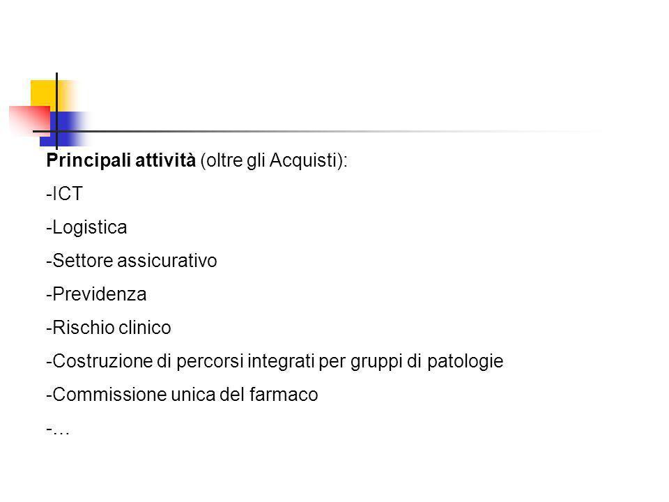 Principali attività (oltre gli Acquisti): -ICT -Logistica -Settore assicurativo -Previdenza -Rischio clinico -Costruzione di percorsi integrati per gr