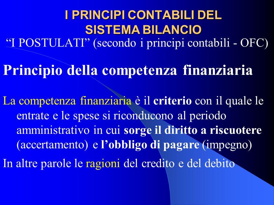 I PRINCIPI CONTABILI DEL SISTEMA BILANCIO I POSTULATI (secondo i principi contabili - OFC) Principio della competenza finanziaria La competenza finanz