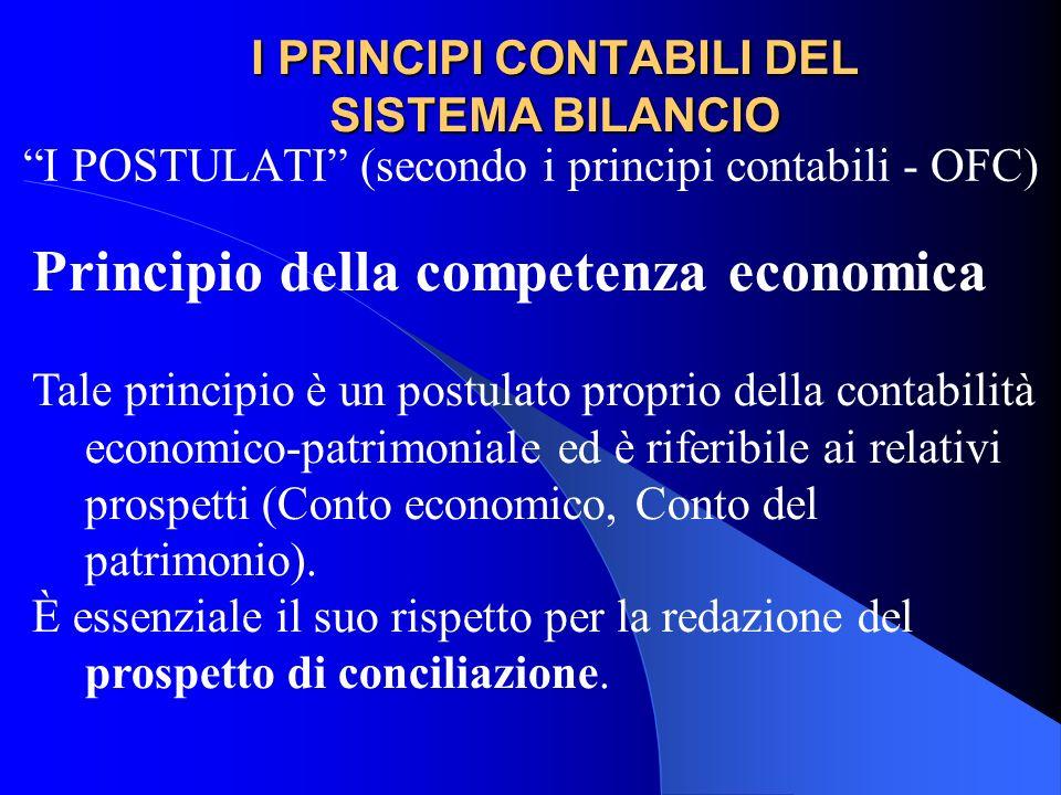 I PRINCIPI CONTABILI DEL SISTEMA BILANCIO I POSTULATI (secondo i principi contabili - OFC) Principio della competenza economica Tale principio è un po