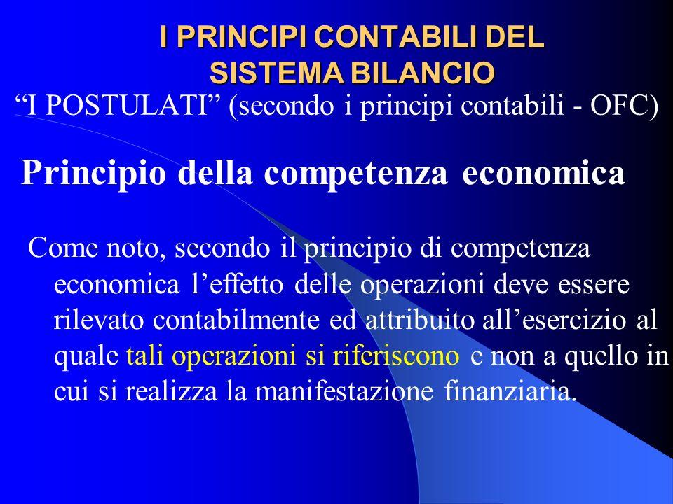 I PRINCIPI CONTABILI DEL SISTEMA BILANCIO I POSTULATI (secondo i principi contabili - OFC) Principio della competenza economica Come noto, secondo il