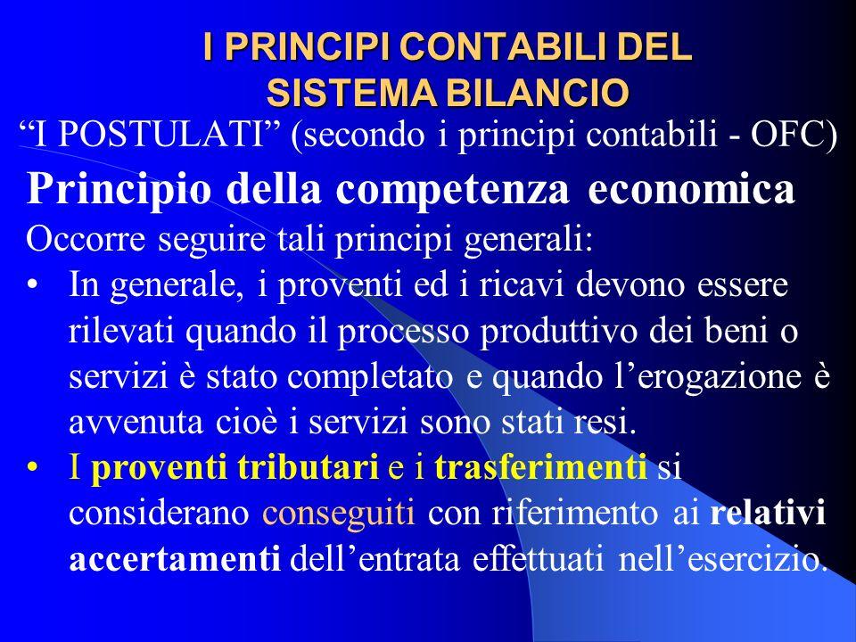 I PRINCIPI CONTABILI DEL SISTEMA BILANCIO I POSTULATI (secondo i principi contabili - OFC) Principio della competenza economica Occorre seguire tali p
