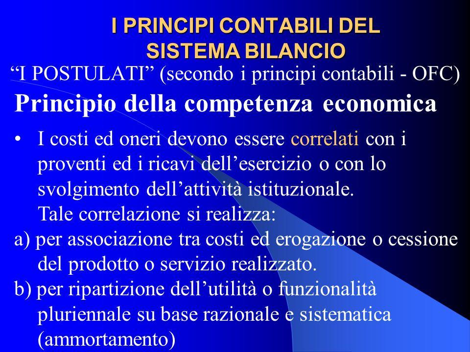 I PRINCIPI CONTABILI DEL SISTEMA BILANCIO I POSTULATI (secondo i principi contabili - OFC) Principio della competenza economica I costi ed oneri devon