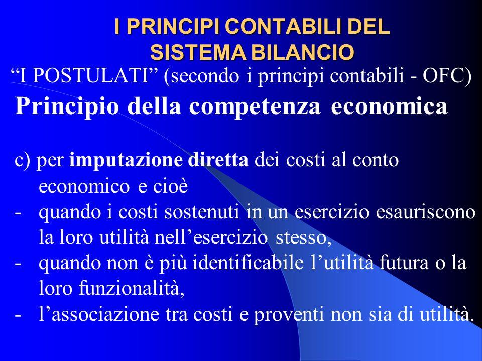 I PRINCIPI CONTABILI DEL SISTEMA BILANCIO I POSTULATI (secondo i principi contabili - OFC) Principio della competenza economica c) per imputazione dir