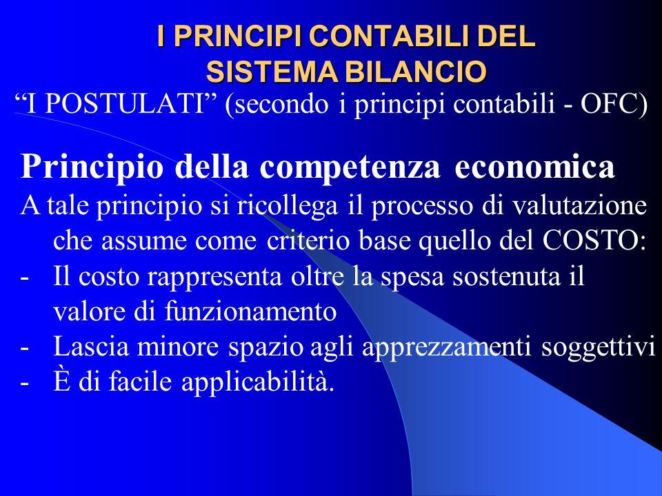 I PRINCIPI CONTABILI DEL SISTEMA BILANCIO I POSTULATI (secondo i principi contabili - OFC) Principio della competenza economica A tale principio si ri