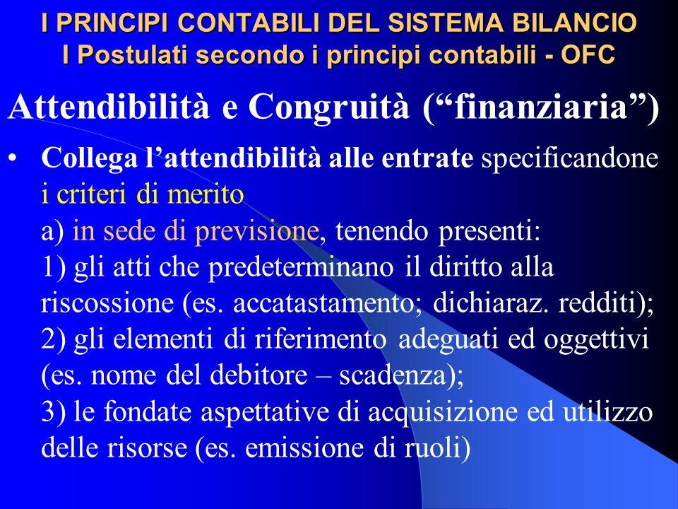 I PRINCIPI CONTABILI DEL SISTEMA BILANCIO I Postulati secondo i principi contabili - OFC Attendibilità e Congruità (finanziaria) Collega lattendibilit