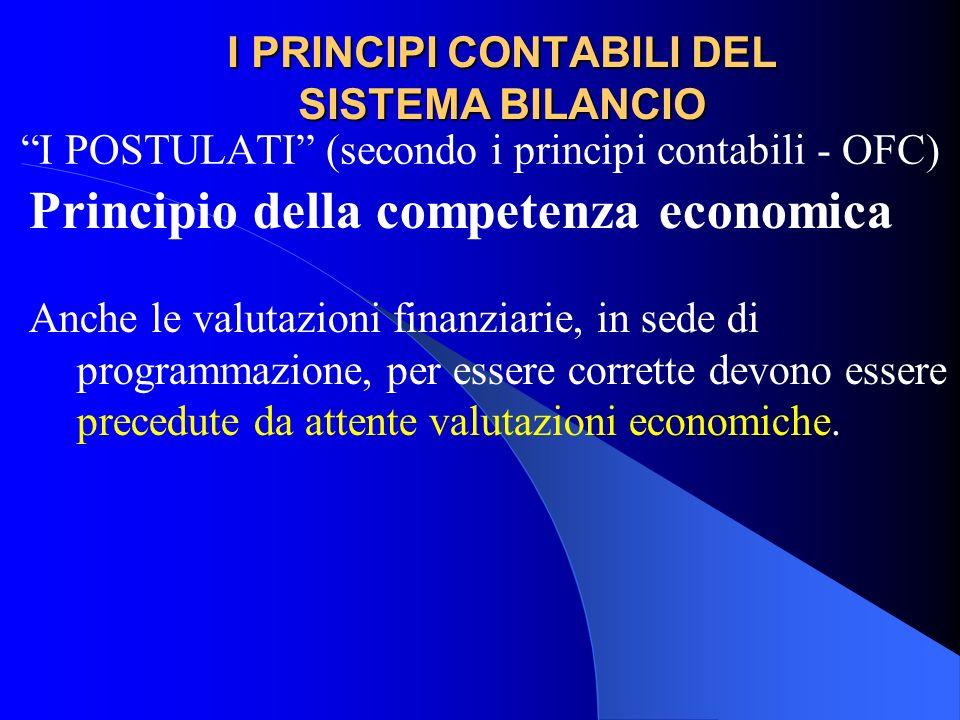I PRINCIPI CONTABILI DEL SISTEMA BILANCIO I POSTULATI (secondo i principi contabili - OFC) Principio della competenza economica Anche le valutazioni f
