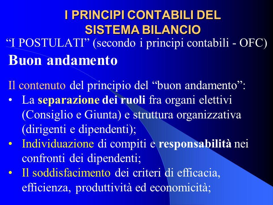 I PRINCIPI CONTABILI DEL SISTEMA BILANCIO I POSTULATI (secondo i principi contabili - OFC) Buon andamento Il contenuto del principio del buon andament