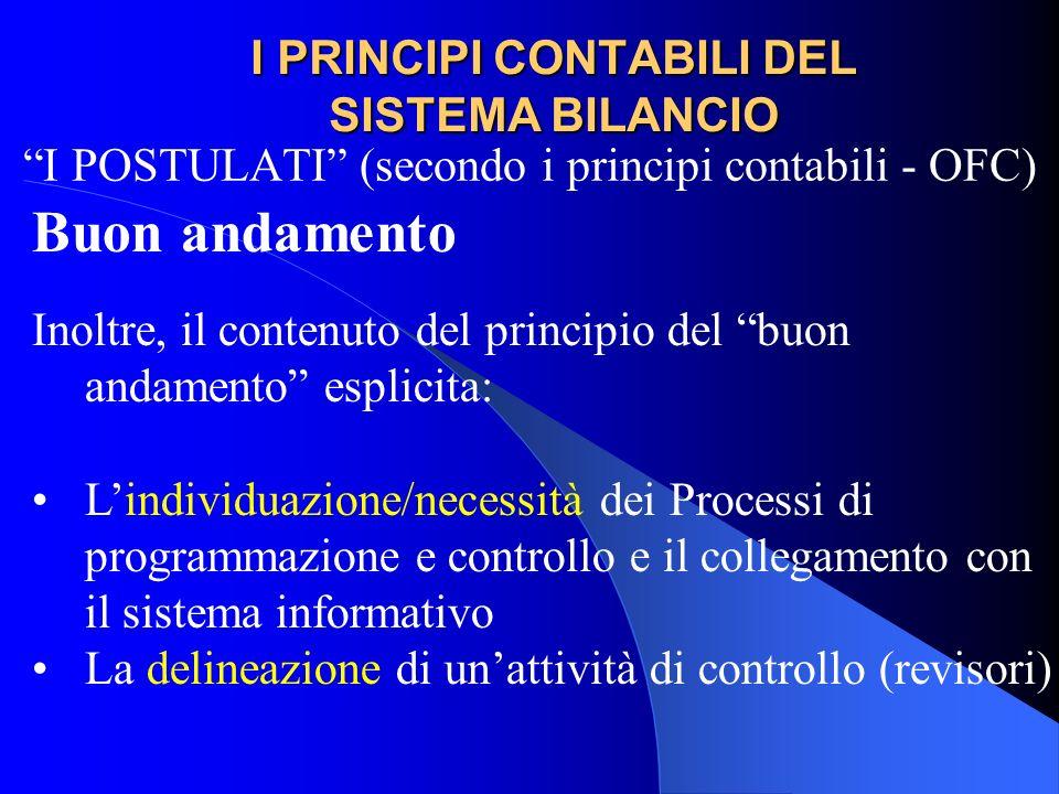 I PRINCIPI CONTABILI DEL SISTEMA BILANCIO I POSTULATI (secondo i principi contabili - OFC) Buon andamento Inoltre, il contenuto del principio del buon