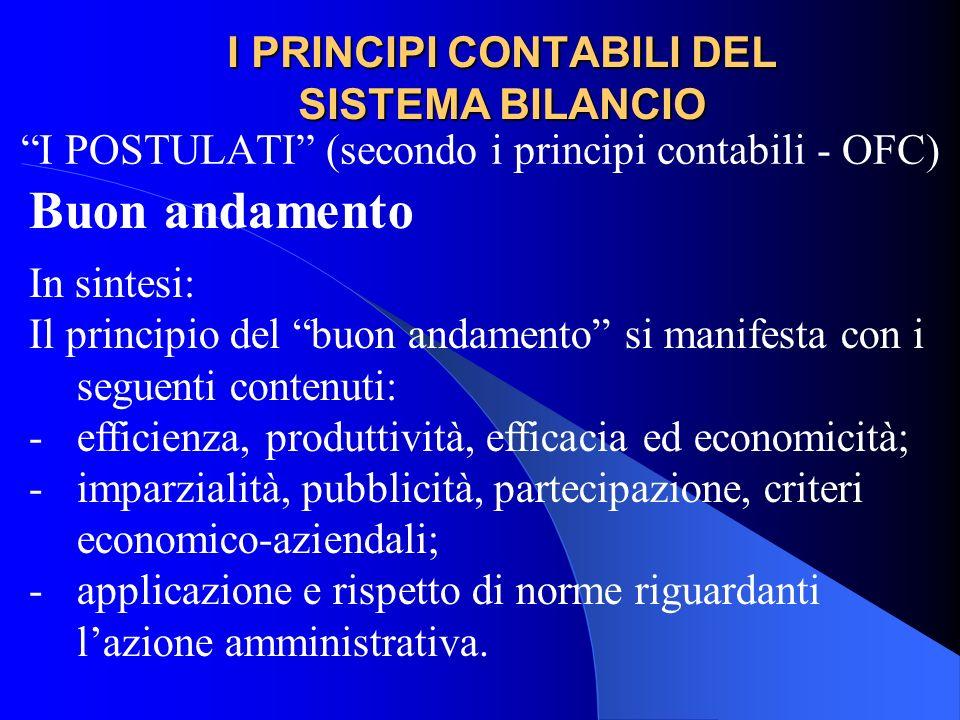 I PRINCIPI CONTABILI DEL SISTEMA BILANCIO I POSTULATI (secondo i principi contabili - OFC) Buon andamento In sintesi: Il principio del buon andamento