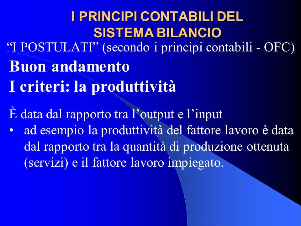 I PRINCIPI CONTABILI DEL SISTEMA BILANCIO I POSTULATI (secondo i principi contabili - OFC) Buon andamento I criteri: la produttività È data dal rappor