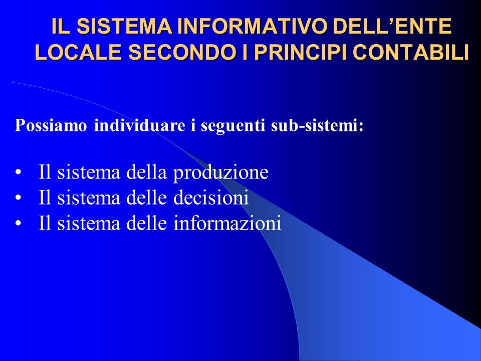 IL SISTEMA INFORMATIVO DELLENTE LOCALE SECONDO I PRINCIPI CONTABILI Possiamo individuare i seguenti sub-sistemi: Il sistema della produzione Il sistem