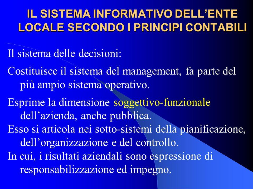 IL SISTEMA INFORMATIVO DELLENTE LOCALE SECONDO I PRINCIPI CONTABILI Il sistema delle decisioni: Costituisce il sistema del management, fa parte del pi