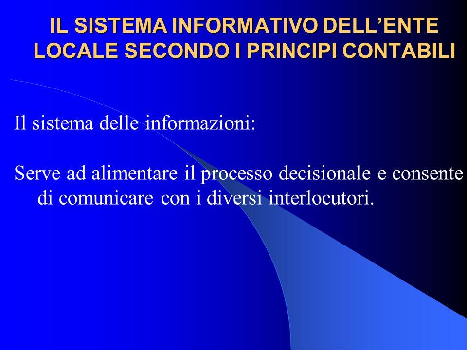 IL SISTEMA INFORMATIVO DELLENTE LOCALE SECONDO I PRINCIPI CONTABILI Il sistema delle informazioni: Serve ad alimentare il processo decisionale e conse