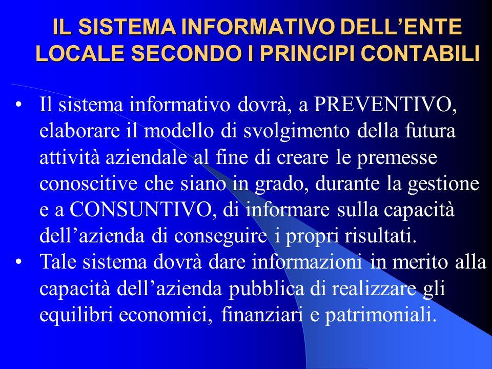 IL SISTEMA INFORMATIVO DELLENTE LOCALE SECONDO I PRINCIPI CONTABILI Il sistema informativo dovrà, a PREVENTIVO, elaborare il modello di svolgimento de