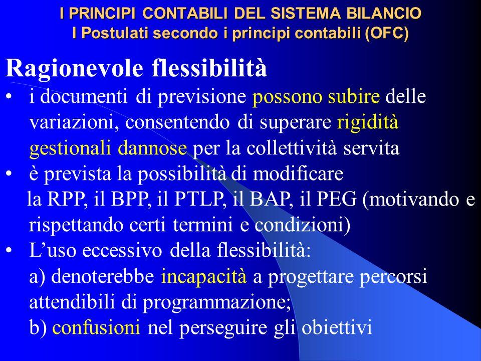 I PRINCIPI CONTABILI DEL SISTEMA BILANCIO I Postulati secondo i principi contabili (OFC) Ragionevole flessibilità i documenti di previsione possono su