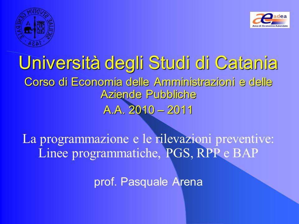 Università degli Studi di Catania Corso di Economia delle Amministrazioni e delle Aziende Pubbliche A.A.