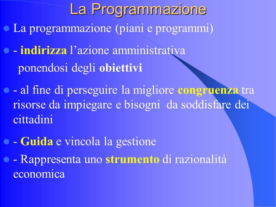 La Programmazione La programmazione (piani e programmi) - indirizza lazione amministrativa ponendosi degli obiettivi - al fine di perseguire la migliore congruenza tra risorse da impiegare e bisogni da soddisfare dei cittadini - Guida e vincola la gestione - Rappresenta uno strumento di razionalità economica