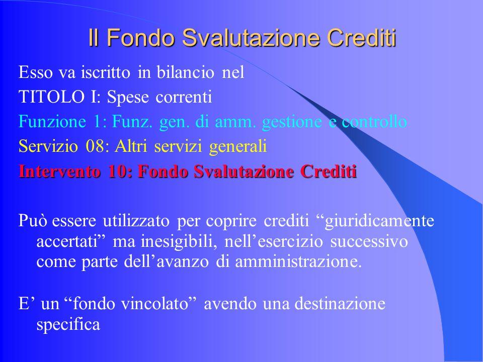 Il Fondo Svalutazione Crediti Esso va iscritto in bilancio nel TITOLO I: Spese correnti Funzione 1: Funz.