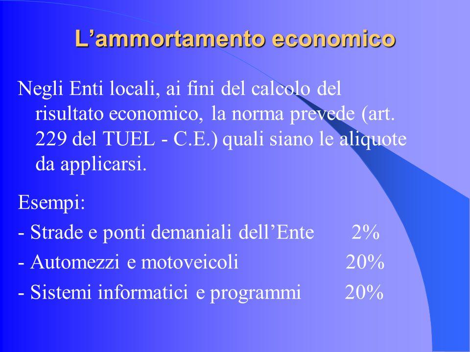 Lammortamento economico Negli Enti locali, ai fini del calcolo del risultato economico, la norma prevede (art.
