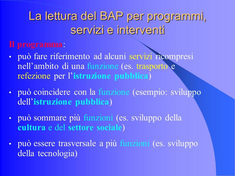 La lettura del BAP per programmi, servizi e interventi Il programma: può fare riferimento ad alcuni servizi ricompresi nellambito di una funzione (es.