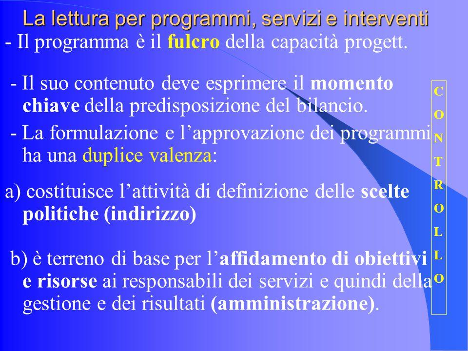 La lettura per programmi, servizi e interventi - Il programma è il fulcro della capacità progett.