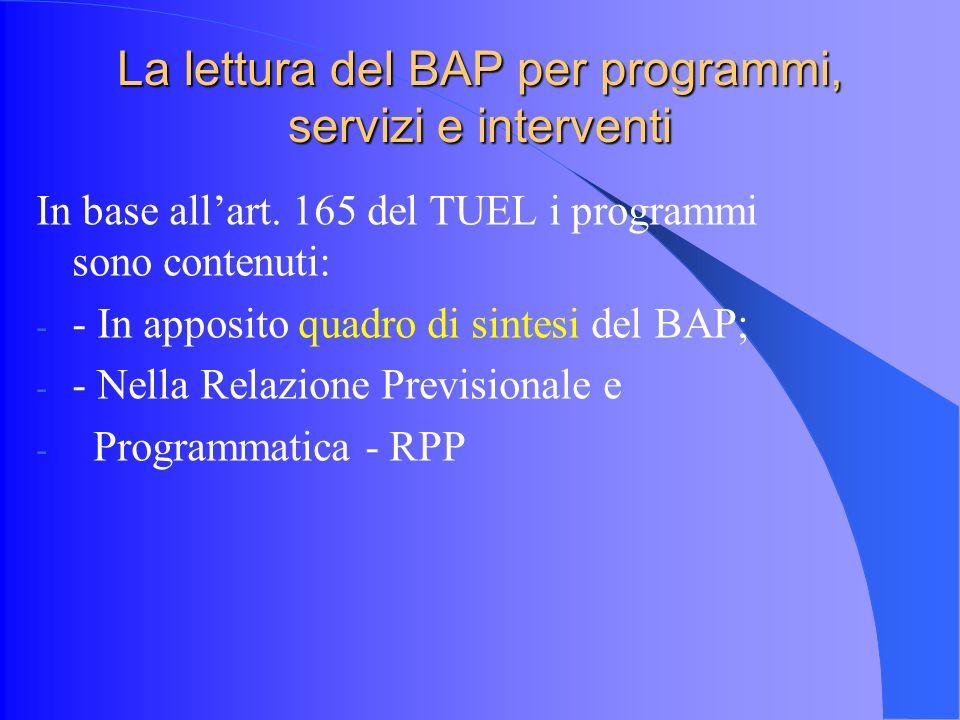 La lettura del BAP per programmi, servizi e interventi In base allart.