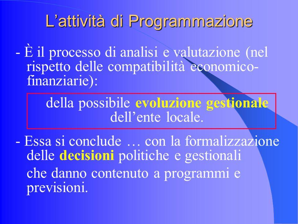 Lattività di Programmazione - È il processo di analisi e valutazione (nel rispetto delle compatibilità economico- finanziarie): della possibile evoluzione gestionale dellente locale.