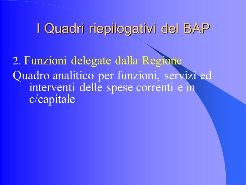 I Quadri riepilogativi del BAP 2.