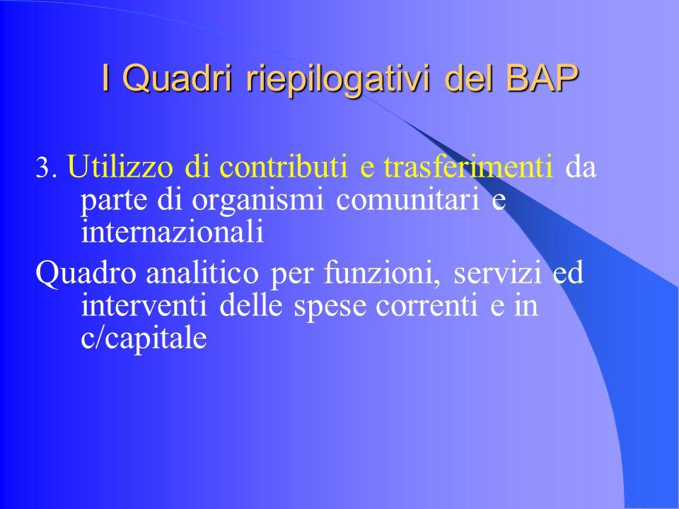 I Quadri riepilogativi del BAP 3.