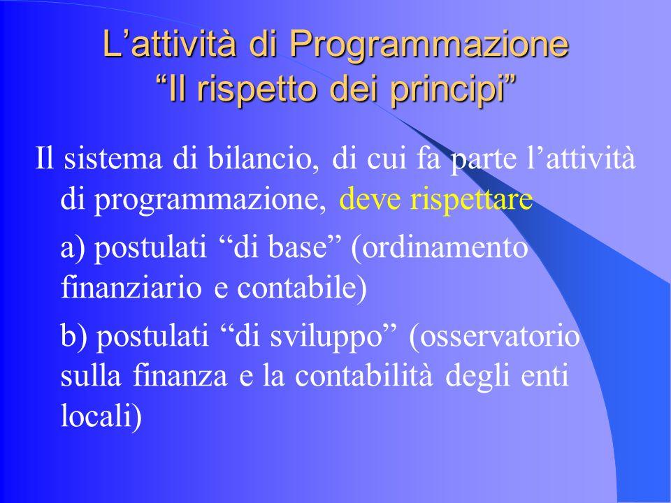 Lattività di Programmazione Il rispetto dei principi Il sistema di bilancio, di cui fa parte lattività di programmazione, deve rispettare a) postulati di base (ordinamento finanziario e contabile) b) postulati di sviluppo (osservatorio sulla finanza e la contabilità degli enti locali)