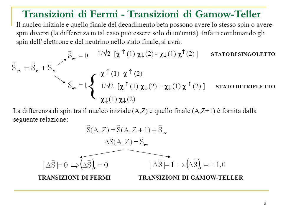 8 Transizioni di Fermi - Transizioni di Gamow-Teller Il nucleo iniziale e quello finale del decadimento beta possono avere lo stesso spin o avere spin diversi (la differenza in tal caso può essere solo di un unità).