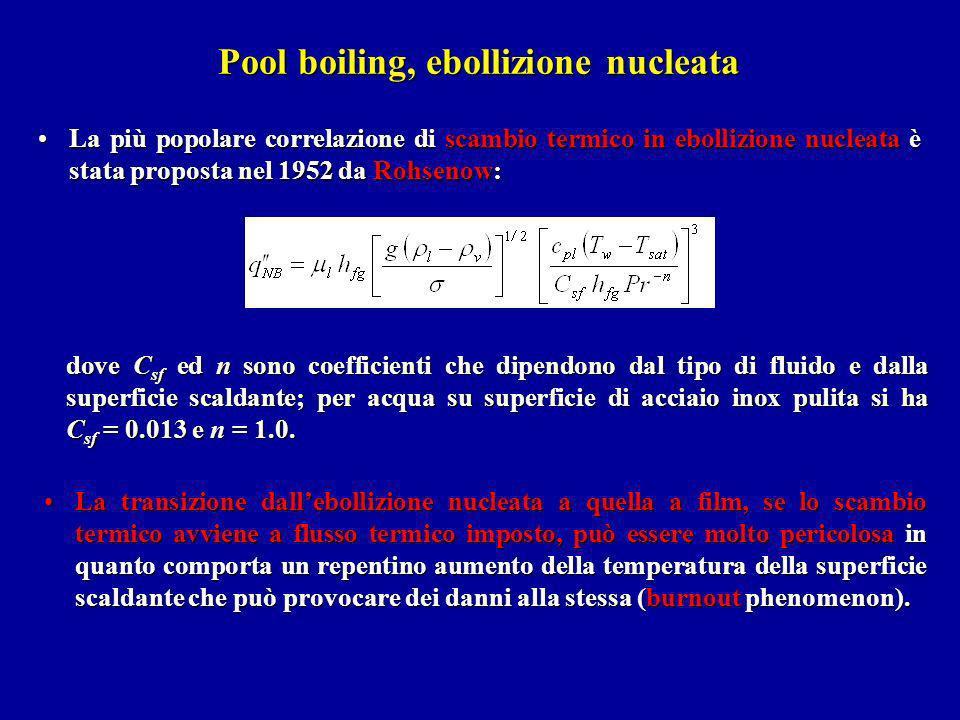Pool boiling, ebollizione nucleata La più popolare correlazione di scambio termico in ebollizione nucleata è stata proposta nel 1952 da Rohsenow:La pi
