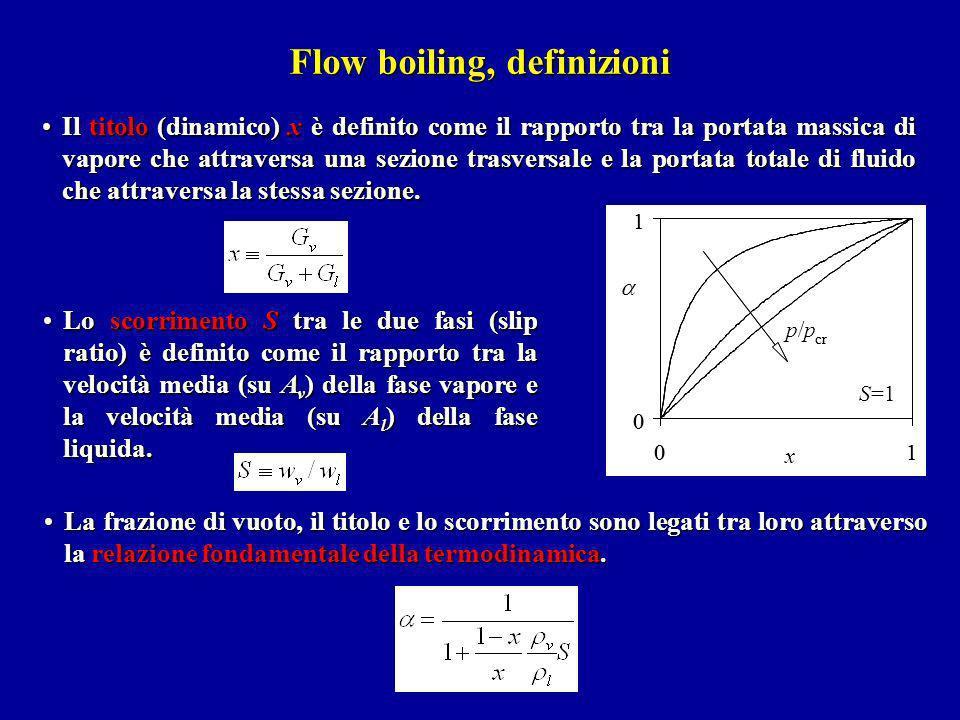 Flow boiling, definizioni Il titolo (dinamico) x è definito come il rapporto tra la portata massica di vapore che attraversa una sezione trasversale e