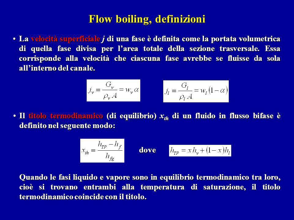 Flow boiling, definizioni La velocità superficiale j di una fase è definita come la portata volumetrica di quella fase divisa per larea totale della s