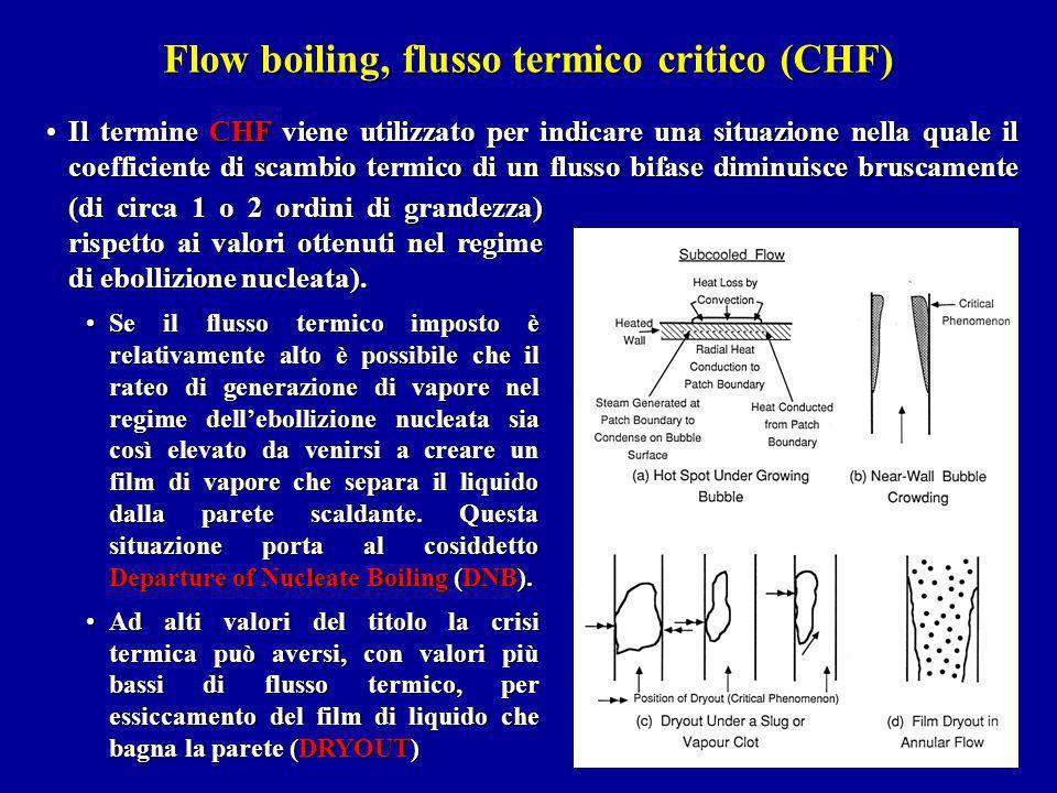 Flow boiling, flusso termico critico (CHF) Il termine CHF viene utilizzato per indicare una situazione nella quale il coefficiente di scambio termico